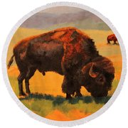 Buffalo Grazing Round Beach Towel