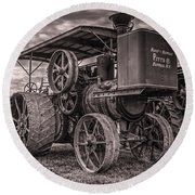 Buffalo Pitts Steam Traction Engine Round Beach Towel