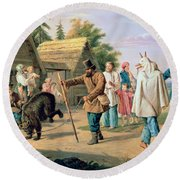 Buffoons In A Village Round Beach Towel