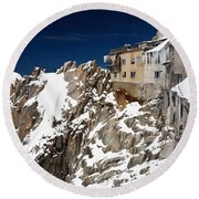 Round Beach Towel featuring the photograph building in Aiguille du Midi - Mont Blanc by Antonio Scarpi