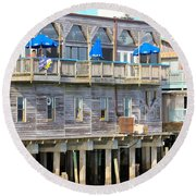 Building On Piles Above Water Round Beach Towel