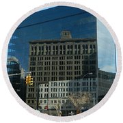 Round Beach Towel featuring the photograph Building Reflections Nyc by Emmy Marie Vickers