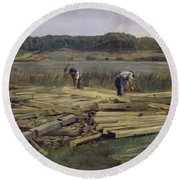 Building Site At Wesslingersee, 1876 Oil On Canvas Round Beach Towel