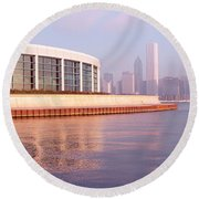 Building Structure Near The Lake, Shedd Round Beach Towel