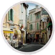 Buildings Along A Street, Rue Porte De Round Beach Towel