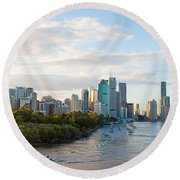 Round Beach Towel featuring the photograph Buildings At The Waterfront, Brisbane by Panoramic Images