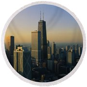 Buildings At The Waterfront, Chicago Round Beach Towel by Panoramic Images