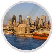 Buildings At The Waterfront, Montreal Round Beach Towel