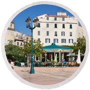 Buildings In A City, Charles De Gaulle Round Beach Towel