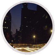 Buildings In A City, Chrysler Building Round Beach Towel