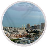 Buildings In A City, Coit Tower, San Round Beach Towel
