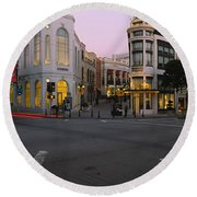 Buildings In A City, Rodeo Drive Round Beach Towel