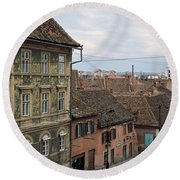 Buildings In A City, Town Center, Big Round Beach Towel
