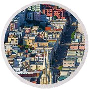 Buildings In A City Viewed Round Beach Towel