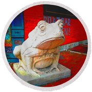 Round Beach Towel featuring the photograph Bull Frog Painted by Kelly Awad