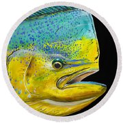 Bull Head Off0033 Round Beach Towel by Carey Chen