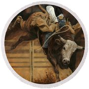 Bull Riding 1 Round Beach Towel by Don  Langeneckert