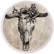 Bull Skull And Rose Round Beach Towel