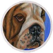 Beautiful Bulldog Oil Painting Round Beach Towel