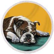 Bulldog On Yellow Round Beach Towel
