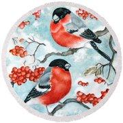 Bullfinch Couple Round Beach Towel
