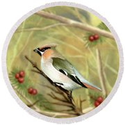 Bullfinch Round Beach Towel