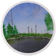 Round Beach Towel featuring the painting Bullfrog Reservoir by Jennifer Muller