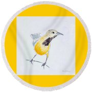Round Beach Towel featuring the painting Bullock's Oriole No 1 by Ben Gertsberg