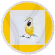 Round Beach Towel featuring the painting Bullock's Oriole No 2 by Ben Gertsberg
