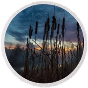 Bulrush Sunrise Round Beach Towel