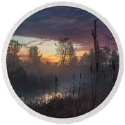 Bulrush Sunrise Full Scene Round Beach Towel