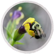 Round Beach Towel featuring the photograph Bumble Bee Making A Wish by Penny Meyers