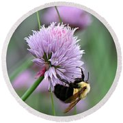 Round Beach Towel featuring the photograph Bumblebee On Clover by Barbara McMahon