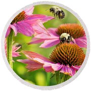 Bumbling Bees Round Beach Towel by Bill Pevlor