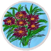 Round Beach Towel featuring the digital art Bunch Of Daisies by Christine Fournier