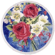 Bunch Of Flowers Round Beach Towel