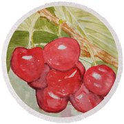Bunch Of Red Cherries Round Beach Towel
