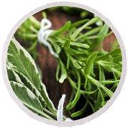 Bunches Of Fresh Herbs Round Beach Towel