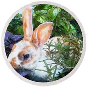 Round Beach Towel featuring the digital art Bunny In The Herb Garden by Jane Schnetlage