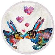 Bunny Rabbit Art - Hopped Up On Love - By Sharon Cummings Round Beach Towel