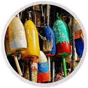 Buoys From Russell's Lobsters Round Beach Towel