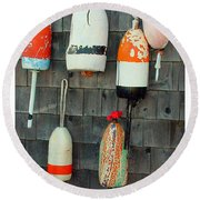 Buoys On The Wall Round Beach Towel