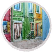 Round Beach Towel featuring the painting Burano by Anna Ruzsan