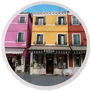 Round Beach Towel featuring the painting Burano by Robin Maria Pedrero