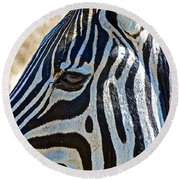 Burchell's Zebra's Face In Kruger National Park-south Africa Round Beach Towel