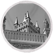 Round Beach Towel featuring the photograph Burg Hohenzollern by Carsten Reisinger
