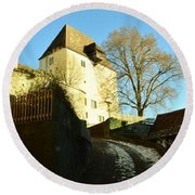 Round Beach Towel featuring the photograph Burgdorf Castle In December by Felicia Tica