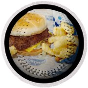 Burger And Fries Baseball Square Round Beach Towel by Andee Design