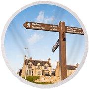 Burghead Signpost Round Beach Towel