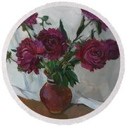 Burgundy Peonies Round Beach Towel